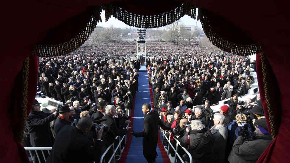 Barack Obama arrives at his 2009 inauguration to become  the 44th president of the United States.