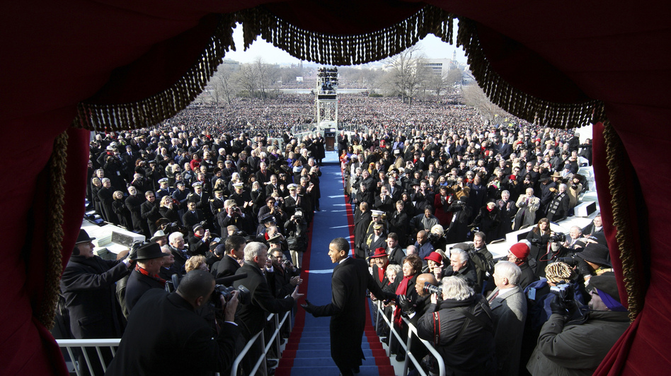Barack Obama arrives at his 2009 inauguration to become  the 44th president of the United States. (Getty Images)