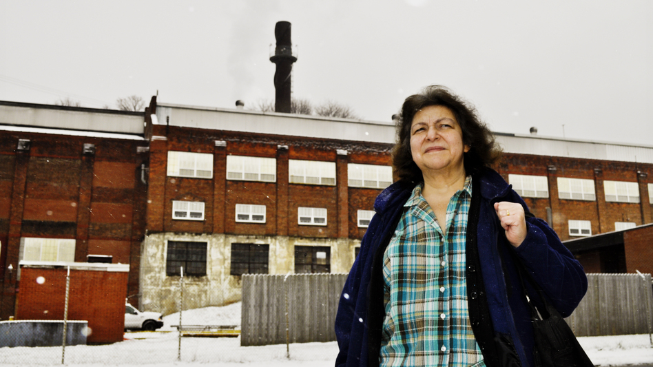 Standing near the Remington Arms factory, Beth Neale, deputy mayor of Ilion, N.Y., says she's watched a lot of large manufacturers leave the region. She's not sure Ilion would easily recover from losing Remington. (Marie Cusick for NPR)