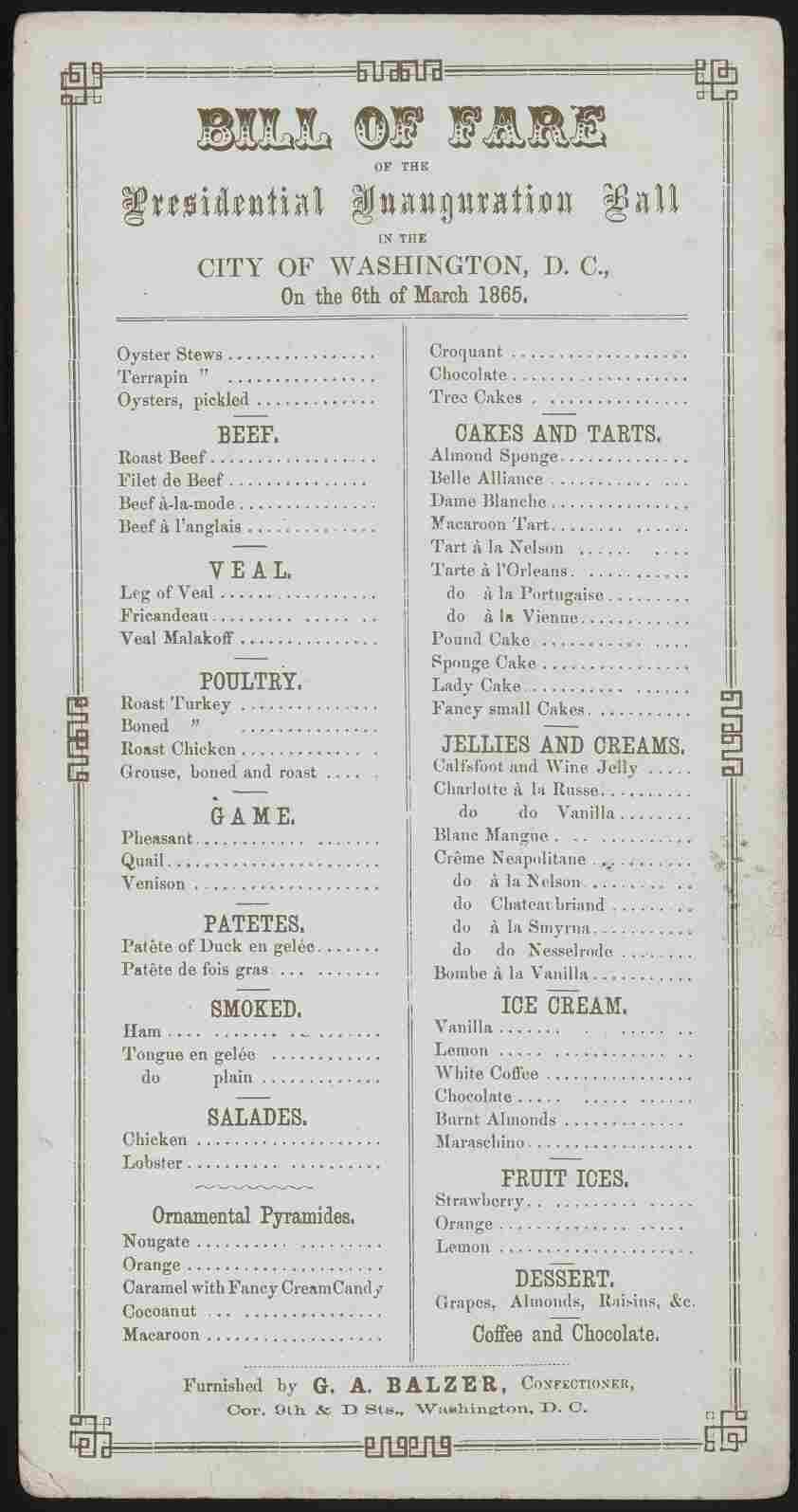 Menu for Lincoln's 2nd inaugural ball, March 6, 1865