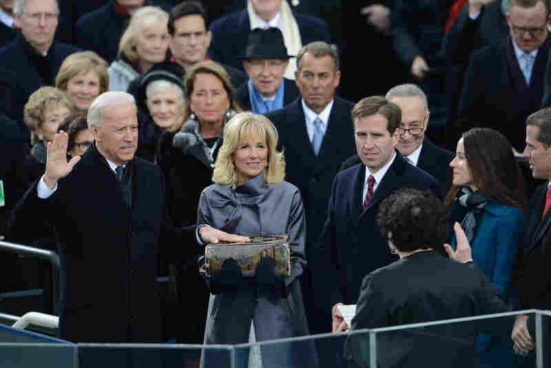 Vice President Biden is sworn in by Supreme Court Justice Sonia Sotomayor as his wife, Jill Biden, holds the Bible.