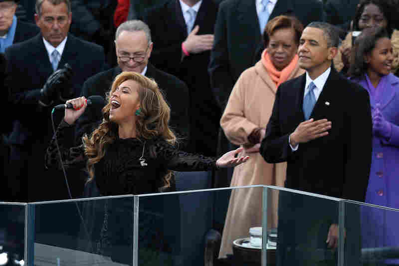 Beyonce performs the national anthem during the presidential inauguration.