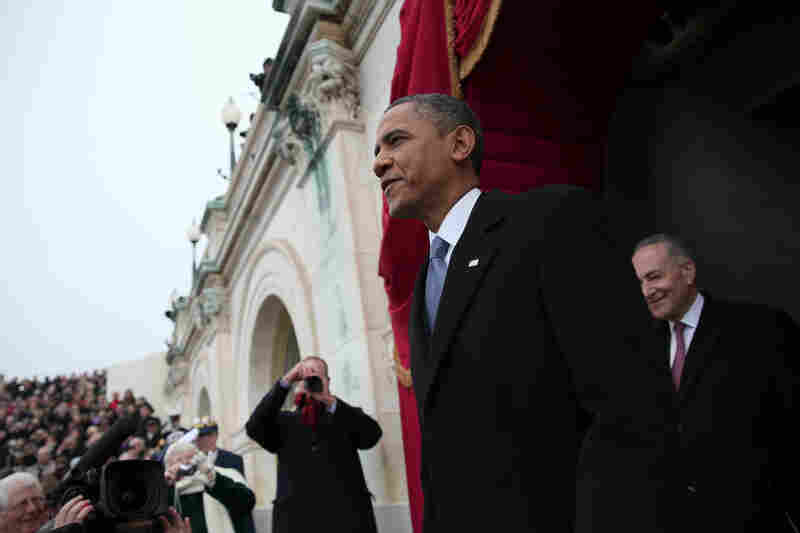 Obama arrives at the U.S. Capitol prior to the ceremonial swearing-in.