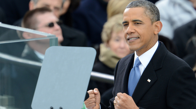 President Obama delivers his second inaugural address Monday in Washington. (AFP/Getty Images)