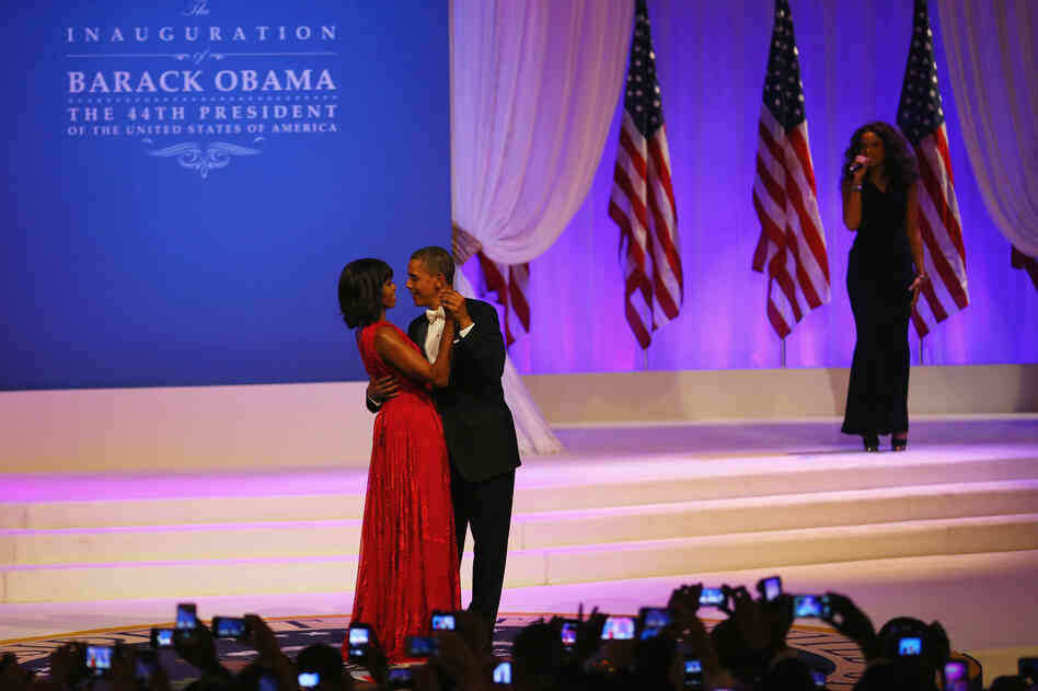 President Obama and first lady Michelle Obama dance as Jennifer Hudson sings at the Commander-In-Chief's Inaugural Ball.