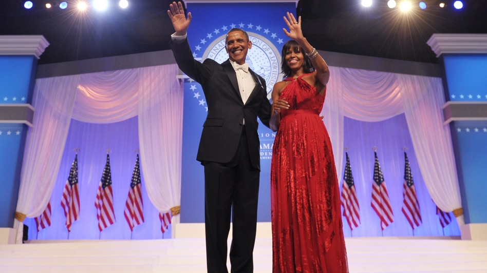 President Obama and first lady Michelle Obama attend an inaugural ball at the Walter E. Washington Convention Center on Monday night. (AFP/Getty Images)