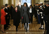 First lady Michelle Obama arrives at the Senate carriage entrance for the presidential inauguration ceremonies at the U.S Capitol.