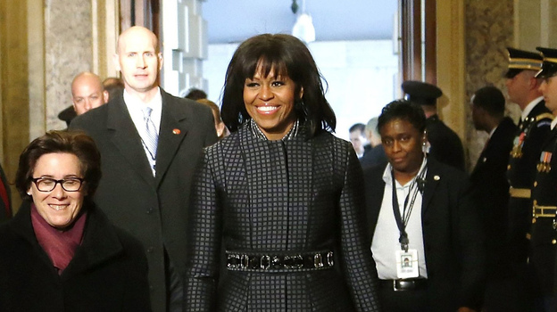 First lady Michelle Obama arrives at the Senate carriage entrance for the presidential inauguration ceremonies at the U.S Capitol. (Reuters/Landov)
