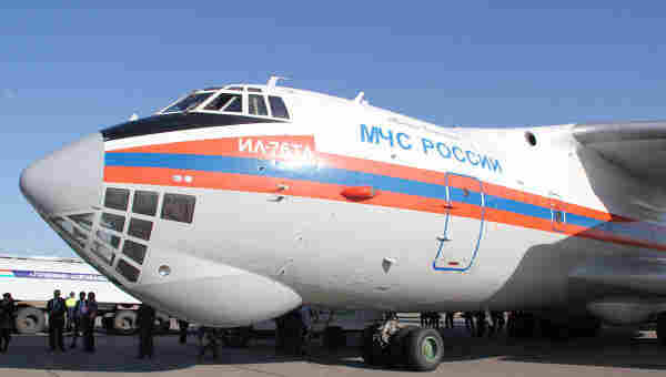 The Russian Emergencies Ministry's Il-76 transport plane.