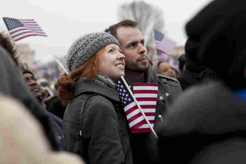 "Mandi Yohn and Griffin Shoemaker recently relocated to D.C. and they are attending their first inauguration. They both hope to see the economy improve. ""We want to see Obama move forward with changes,"" said Griffin."