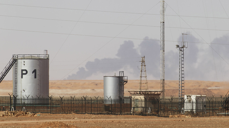Smoke rose Sunday during demining operations at the gas plant in eastern Algeria that Islamist militants attacked last week.