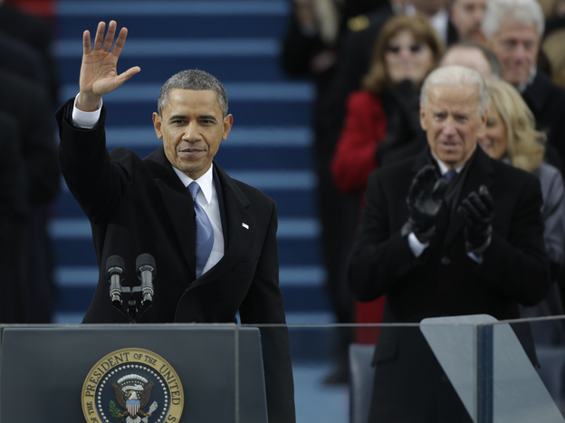 President Barack Obama waves after his speech while Vice President Joe Biden applauds at the ceremonial swearing-in at the U.S. Capitol during the 57th Presidential Inauguration in Washington on Monday. (AP)