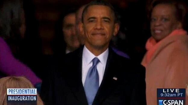 President Obama, as he paused to look back at the crowd before going into the Capitol. (C-SPAN.org)