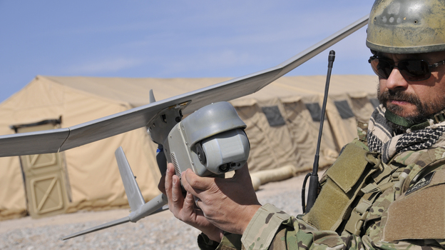 AeroVironment's Raven drone is used for military surveillance and can be launched by hand. (Courtesy of AeroVironment Inc.)