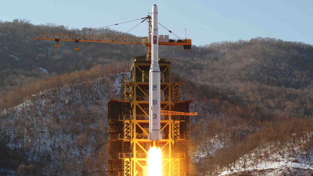 This picture taken by North Korea's official Korean Central News Agency on December 12, 2012 shows North Korean rocket Unha-3, carrying the satellite Kwangmyongsong-3. (AFP/Getty Images)