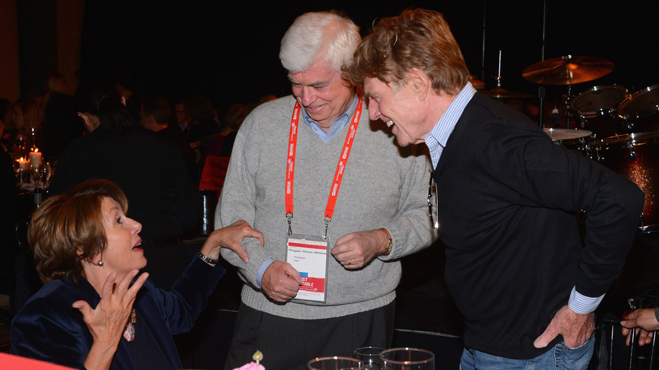 Sundance Film Festival founder Robert Redford speaks with House Minority Leader Nancy Pelosi and former Sen. Chris Dodd, chairman and CEO of the Motion Picture Association of America, at an event at the festival in Park City, Utah. (Getty Images)