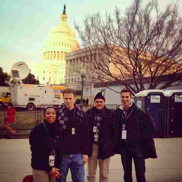 The NPR team arrived to work bright and early Monday morning. Pictured (l to r) is All Things Considered Host Audie Cornish, Morning Edition Host Steve Inskeep, and White House Correspondents Scott Horsley and Ari Shapiro standing in front of the U.S. Capitol.