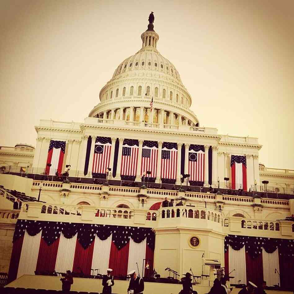 An Instagram photo from White House Correspondent Ari Shapiro shows the U.S. Capitol draped in flags on inauguration morning. Sha