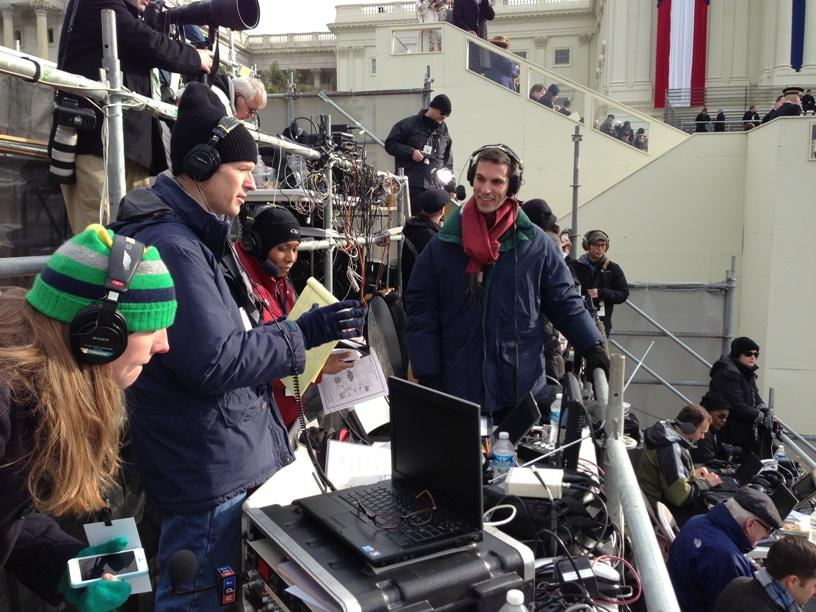 The NPR crew seated and ready to start live, on-air coverage of the inaugural ceremony. Pictured (l to r) Director Sarah Handel, Morning Edition Host Steve Inskeep, All Things Considered Host Audie Cornish and White House Correspondent Ari Shapiro.