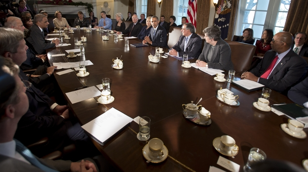 President Barack Obama, center, makes a statement to the media before the start of a meeting with his Cabinet on Nov. 28, 2012. (AP)