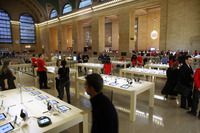 Grand Central's Apple store overlooks the train station's main concourse. The store opened in December 2011.