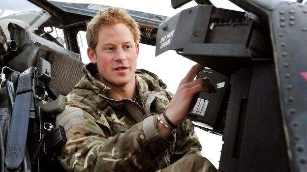 "Prince Harry, known when on duty as ""Capt. Wales,"" in the cockpit of an Apache helicopter while he was in Afghanistan last month. (EPA /Landov)"