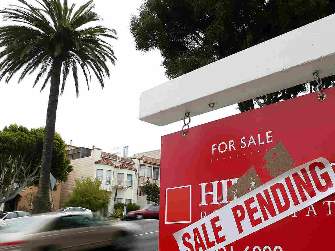 "A ""sale pending"" sign outside a home in San Francisco last August."