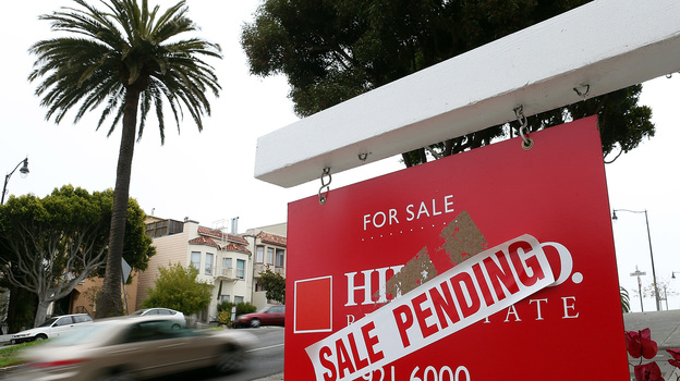 "A ""sale pending"" sign outside a home in San Francisco last August. (Getty Images)"
