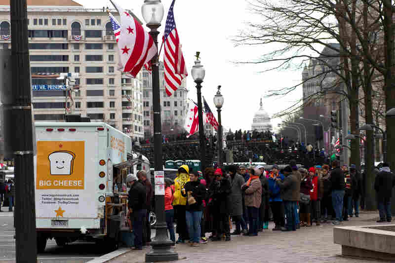 With limited access to food within the parade route, the food trucks able to secure Inauguration Day permits were in constant business, with up to 30-40 minute long lines. Though the Capital Chicken and Waffle food truck did not sell out their fully-packed truck, owner Sharisse Barksdale considered it a resounding success. Their crew will be back on D.C. streets by Thursday.