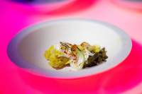 Chef Erik Bruner-Yang from Toki Underground prepared a coconut fish curry in steamed banana leaves for the Chefs Ball to benefit the Cambodian Children's Fund.