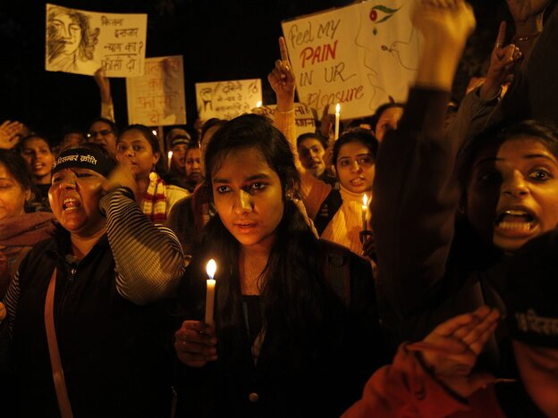 The scene at a candle light vigil earlier this month in New Delhi. Those gathered want the men accused in a brutal rape and murder to be punished, and they want violence against women in India to stop.