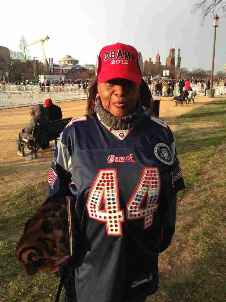 "National Desk Correspondent Jeff Brady tweeted this photo of Chicago resident Cheryl Copeland sporting a ""bling-ed"" number 44 jersey (President Obama is the 44th president) on the National Mall."
