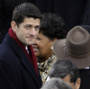 "Rep. Paul Ryan, R-Wis., arrives at President Obama's inauguration Monday on Capitol Hill. On Tuesday, Ryan, who ran for vice president on the losing Republican ticket last year, said Obama's inaugural address showed a ""proud and confident liberal progressive."""