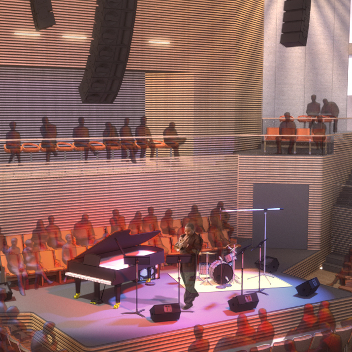 An artist rendering of the auditorium of the new SFJAZZ Center, which opened Monday.