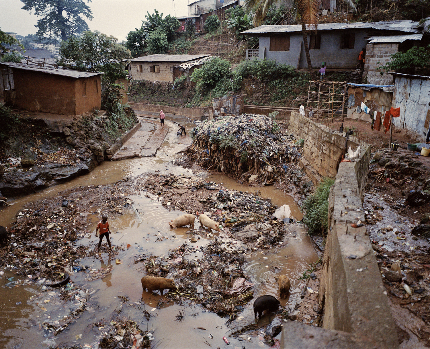 The Borborcombough Water Site in the Kroo Bay slum, one of two that service a population of 5,500 people. The Western Area -- where Freetown is located -- accounted for half of all cholera cases during the outbreak.