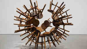 Grapes, a spiky cluster of wooden stools from the Qing Dynasty (1644-1911), is part of Ai Weiwei's repurposed furniture series.
