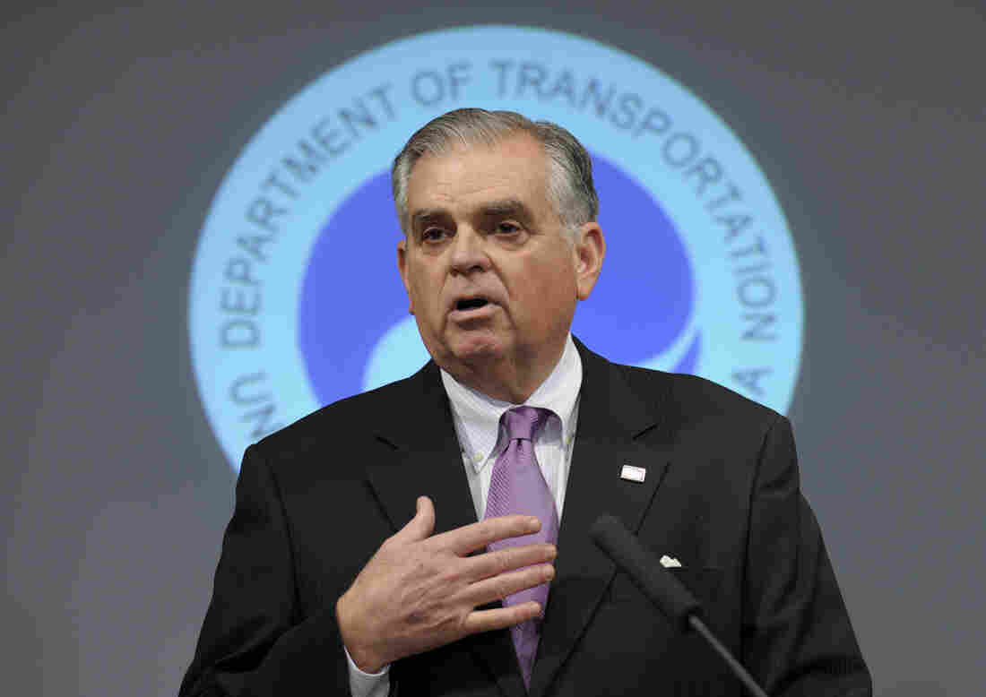 Transportation Secretary Ray LaHood speaks during a news conference at the Transportation Department in Washington in January.