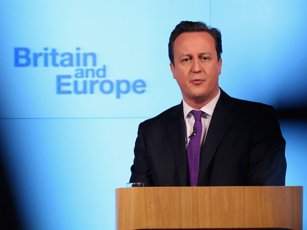 British Prime Minister David Cameron earlier today in Lo