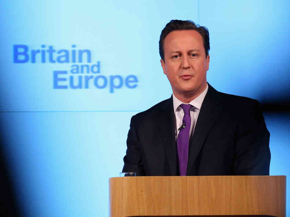 British Prime Minister David Cameron earlier today in London as he spoke about a vote on E.U
