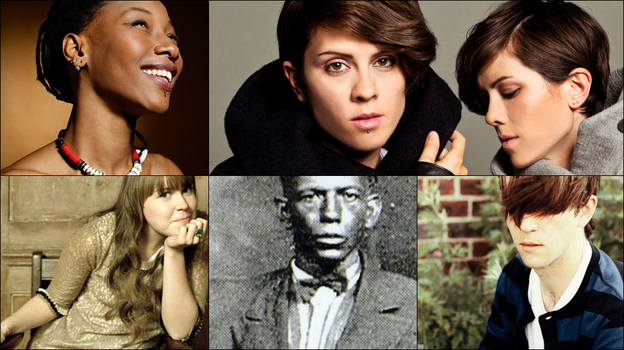 Clockwise from upper left: Tegan and Sara, Owen Pallett of Final Fantasy, Alessi's Ark, Fatoumata Diawara (Courtesy of the artists)