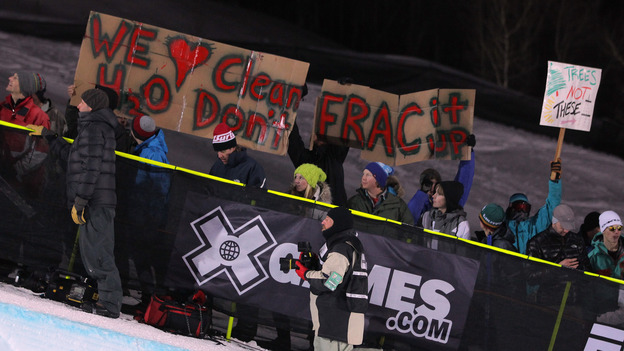 Opponents of fracking demonstrate during the Winter X Games 2012 in Aspen, Colo.