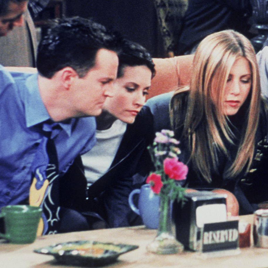 The six Manhattan singles of Friends (from left, Joey (Matt LeBlanc), Chandler (Matthew Perry), Monica (Courteney Cox), Rachel (Jennifer Aniston), Ross (David Schwimmer) and Phoebe (Lisa Kudrow) congregate at Central Perk in this 1999 still photo from the program.