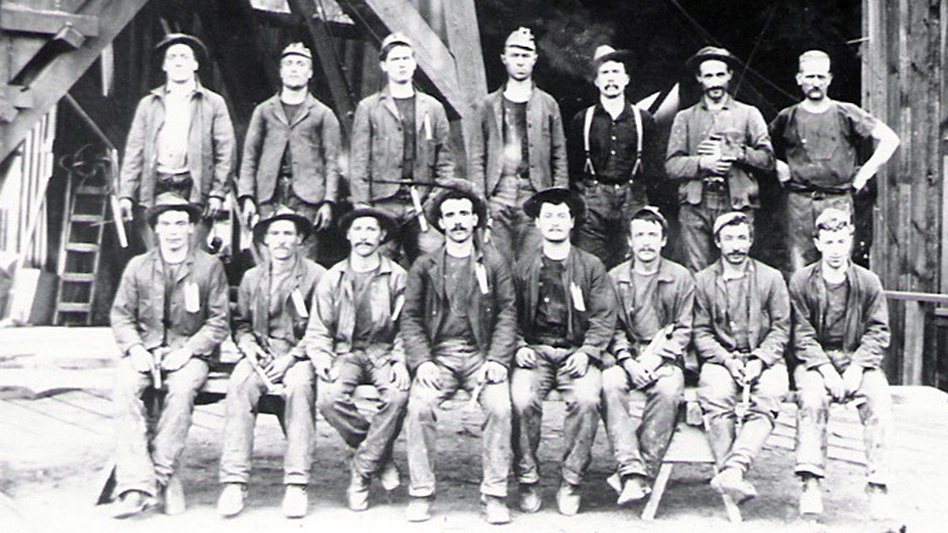 Gold Rush-era miners from the Keystone Mine near Sutter Creek, Calif. (County of Amador )