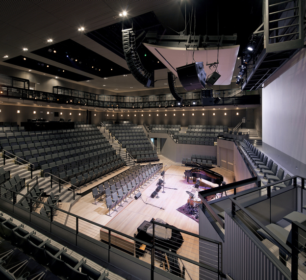 The interior of the auditorium at the new SFJAZZ Center.