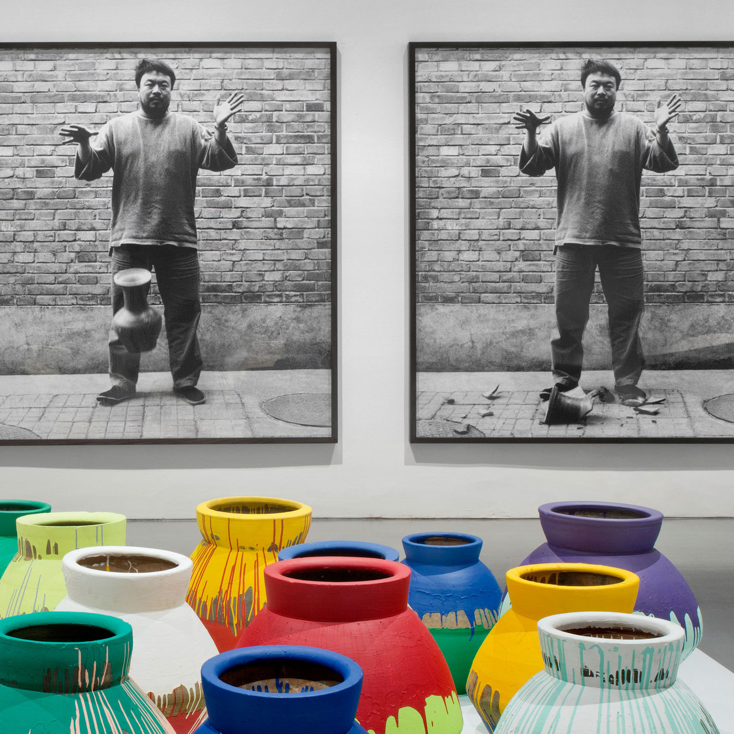 Ai's most controversial work involves altering revered objects, like these paint-covered ancient Chinese vases, or destroying them altogether, as shown in the photographic triptych, Dropping a Han Dynasty Urn.