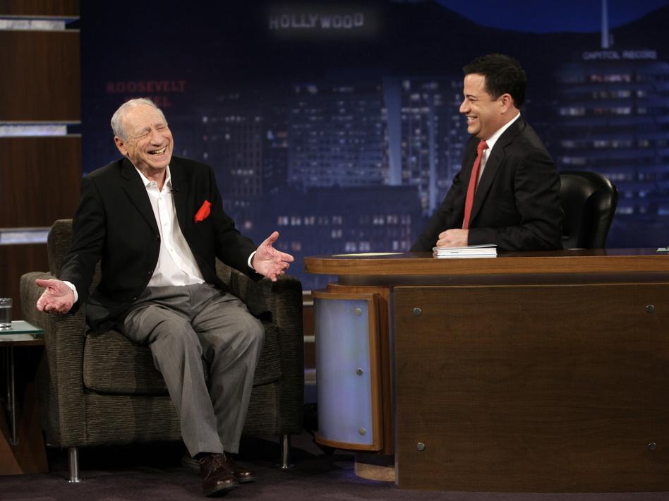 Comedian Jimmy Kimmel interviews Mel Brooks on <em>Jimmy Kimmel Live.</em>