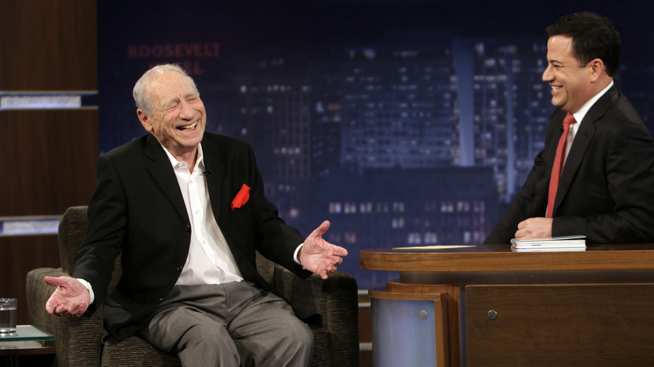 Comedian Jimmy Kimmel interviews Mel Brooks on Jimmy Kimmel Live. (ABC)