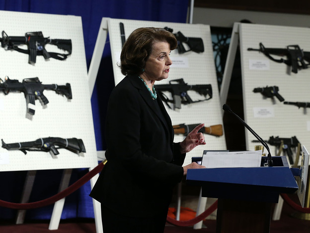 Sen. Dianne Feinstein, D-Calif., speaks at a news conference Thursday announcing her plan to introduce a bill to ban assault weapons and high-capacity magazines.