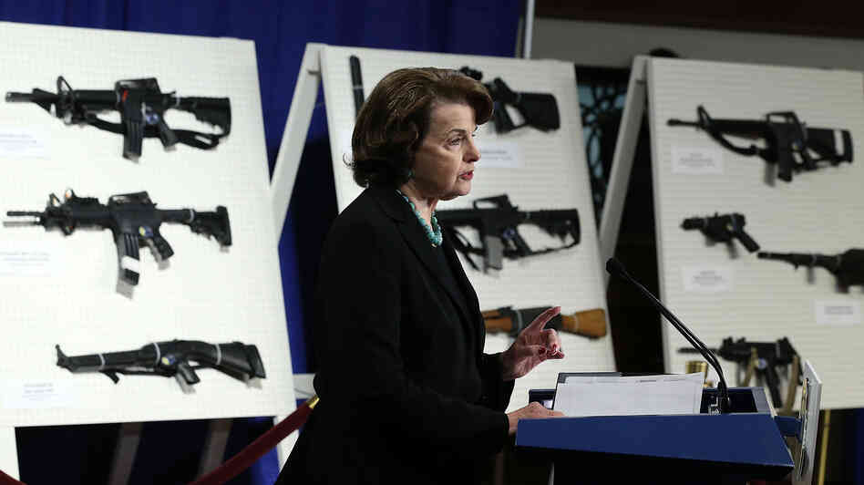 Sen. Dianne Feinstein, D-Calif., speaks at a news conference Thursday announcing her plan to introduce a bill to ban assault wea