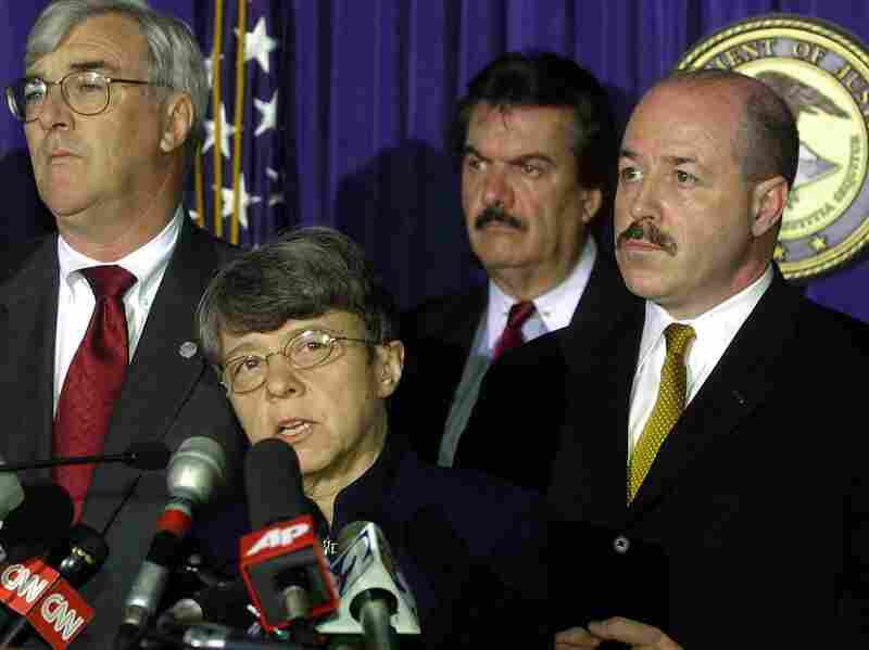 Mary Jo White, then U.S. Attorney for the Southern District of New York, speaks during a May 2001 press conference following guilty verdicts in the trial of four followers of Osama bin Laden that bombed two U.S. embassies in East Africa in 1998. President Obama intends to nominate White to head the Securities and Exchange Commission.